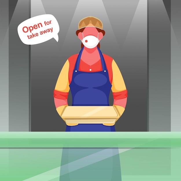 Kobieta kelnerka nosi maskę ochronną, rękawiczki z opakowaniem i otwarte, aby odebrać wiadomość podczas koronawirusa.