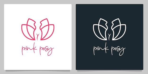 Kobieta kogut dorosły liść natura logo design linia zarys projekt logo