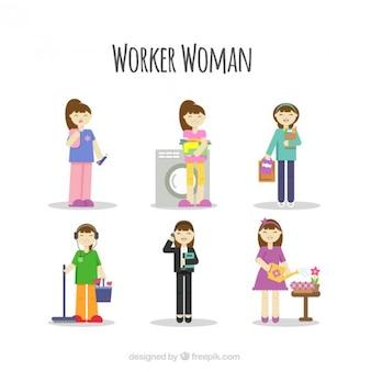 Kobieta kolekcja worker