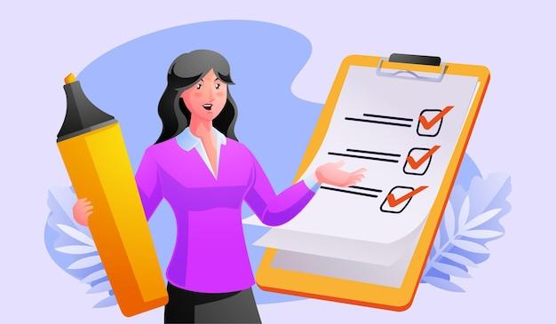 Kobieta kompletna lista kontrolna w schowku i papierkowej robocie