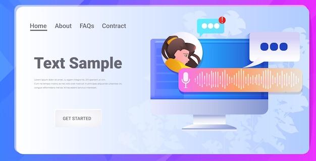Kobieta komunikująca się w komunikatorze za pomocą wiadomości głosowych aplikacja czatu audio media społecznościowe online koncepcja komunikacji poziomej portret kopia przestrzeń ilustracja