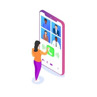 Kobieta komunikuje się ze swoimi kolegami za pomocą wideo za pomocą smartfona. praca zdalna, komunikacja ze znajomymi przez internet, wideokonferencja. ilustracja wektorowa izometryczny.