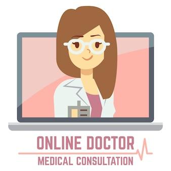 Kobieta konsultacji online lekarz koncepcji