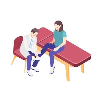 Kobieta konsulting specjalisty w klinice ortopedycznej 3d izometryczny ilustracja