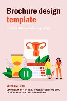 Kobieta konsultuje się z lekarzem w sprawie menopauzy i poziomu estrogenów. malutkie postacie z kalendarzem, klepsydrą i znakiem pauzy. ilustracja do ginekologii, koncepcja problemów zdrowia reprodukcyjnego