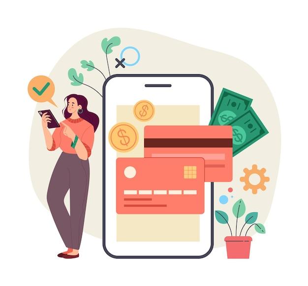 Kobieta-konsument klient banku biorący pieniądze kredytowe online przez smartfona internet bankowość internetowa online