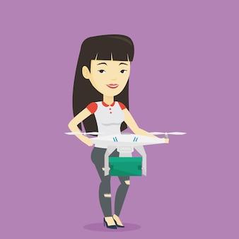 Kobieta kontroluje dostawczego trutnia z paczki pocztą