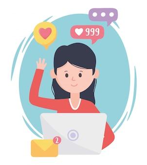 Kobieta korzystająca z poczty e-mail na laptopie, jak śledzenie komunikacji i technologii w sieciach społecznościowych