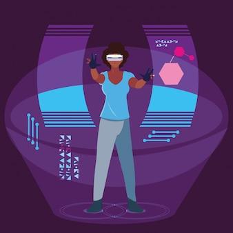 Kobieta korzystająca z technologii rzeczywistości rozszerzonej