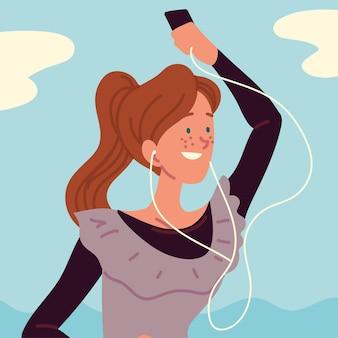Kobieta korzystająca ze słuchawek