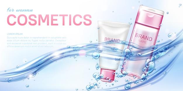 Kobieta kosmetyczny produkt kosmetyczny w wodzie realistyczne