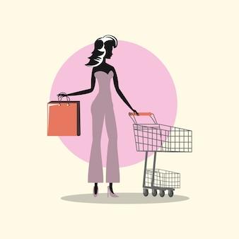 Kobieta koszyk i torebka w stylu retro