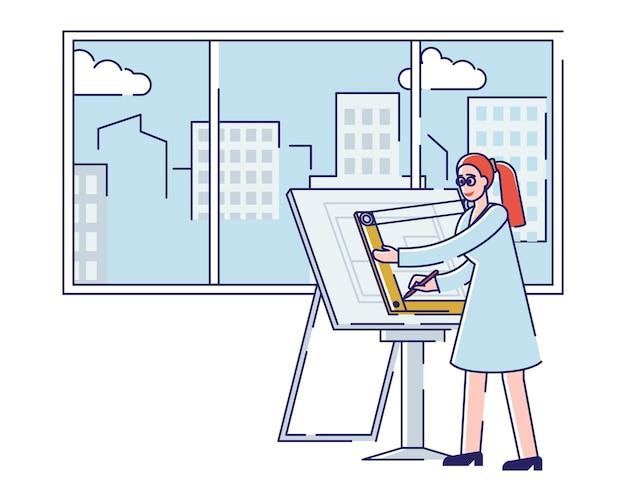 Kobieta kreatywny architekt rysuje nowy projekt architektoniczny