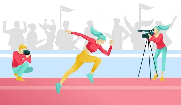 Kobieta kreskówka biegacz znaków jogging. zawody sportowe.