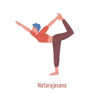 Kobieta kreskówka ćwiczenia jogi pan tańca na białym tle. jogini dziewczyna pokazano natarajasana stanowią króla tancerzy wektor ilustracja płaskie. kobiecy charakter z elastycznym ciałem.
