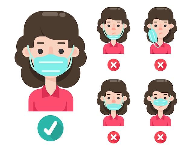 Kobieta kreskówka nosząca maskę, aby zapobiec koronawirusowi.