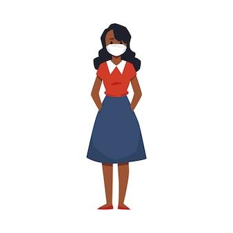 Kobieta kreskówka noszenie maski medycznej w celu ochrony przed wirusami