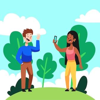 Kobieta kreskówka robi zdjęcie swojej przyjaciółce