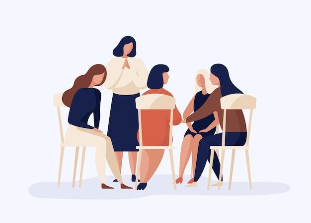 Kobieta kreskówka siedzi razem w kręgu, rozmawiając o płaskiej ilustracji problemu