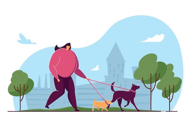 Kobieta kreskówka spaceru dwa psy w parku miejskim. ilustracja wektorowa płaski. kobieta właścicielka spaceru z psami na zewnątrz. zwierzęta, zwierzęta domowe, opieka, koncepcja zdrowego stylu życia do projektowania banerów lub strony docelowej