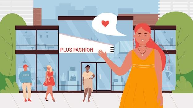 Kobieta kreskówka stojąca obok witryny sklepowej z ubraniami dla osób z nadwagą
