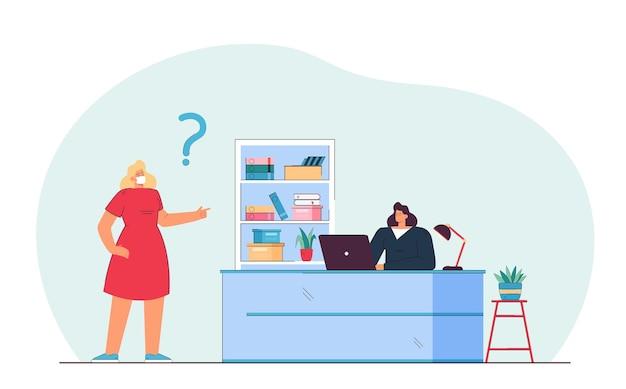 Kobieta kreskówka w masce medycznej prosząc sekretarza, siedząc przy biurku. płaska ilustracja