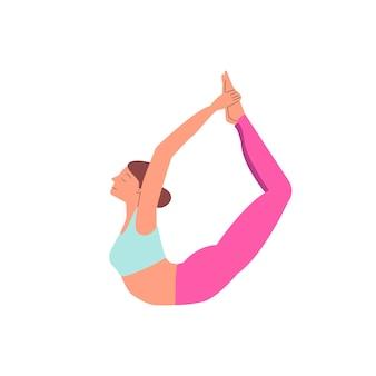 Kobieta kreskówka w pozie jogi łuk rozciąganie jej ćwiczenie dhanurasana nóg