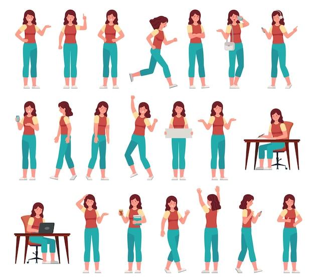 Kobieta kreskówka w stroju casual. młoda kobieca postać w różnych pozach. student z różnymi gestami, zestaw wektor wyrażenie twarzy. nauka z laptopem, rozmowa na smartfonie, trzymanie podręczników