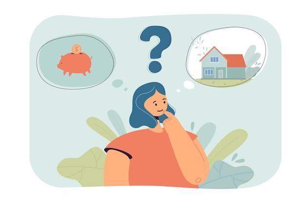 Kobieta kreskówka wybierająca między oszczędzaniem pieniędzy a kupowaniem domu