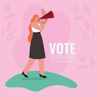 Kobieta kreskówka z megafonem i projektem liści, dzień wyborów głosowania i temat rządowy.