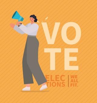 Kobieta kreskówka z projektem megafonu, dniem wyborów głosujących i tematem rządowym.
