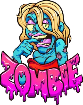 Kobieta kreskówka zombie w czerwonej sukience