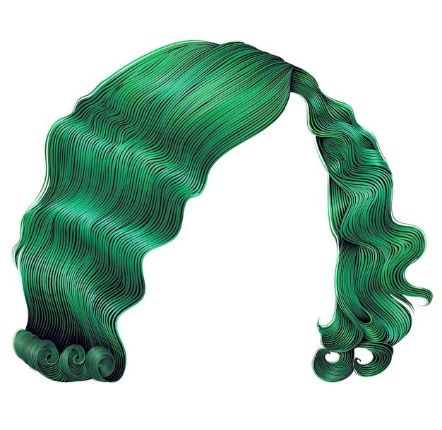 Kobieta krótkie włosy zielone. moda uroda w stylu retro. realistyczny 3d.
