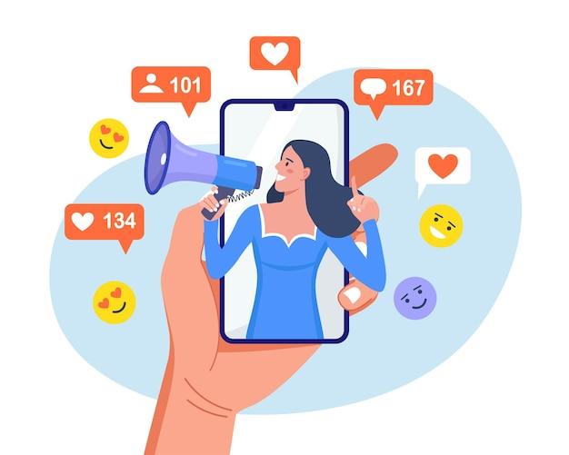 Kobieta krzycząca w głośniku na ekranie smartfona, przyciągająca subskrybentów, pozytywne opinie, obserwujących. promocja w mediach społecznościowych, marketing. komunikacja z publicznością. zespół agencji pr dla influencera