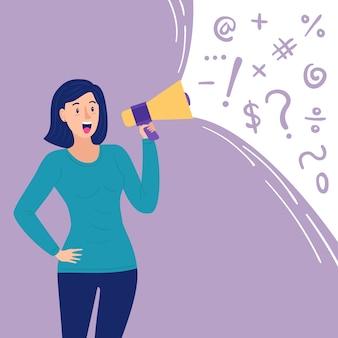 Kobieta krzyczy artystyczną ilustrację z megafonem