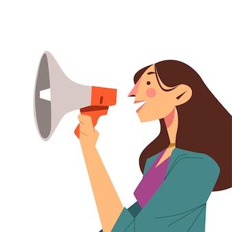 Kobieta krzyczy do megafonu