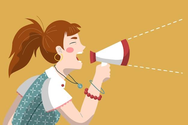 Kobieta krzyczy z megafonowym projektem