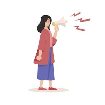 Kobieta krzyczy z pojęciem megafon