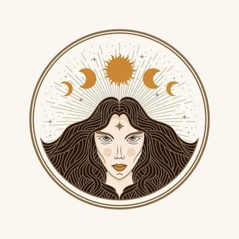 Kobieta księżyca, ilustracja z ezoterycznymi, boho, duchowymi, geometrycznymi, astrologicznymi, magicznymi motywami, dla karty czytnika tarota