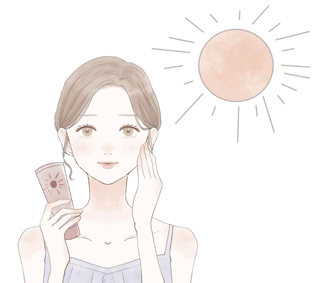 Kobieta, która używa filtrów przeciwsłonecznych do zwalczania promieni uv. na białym tle.