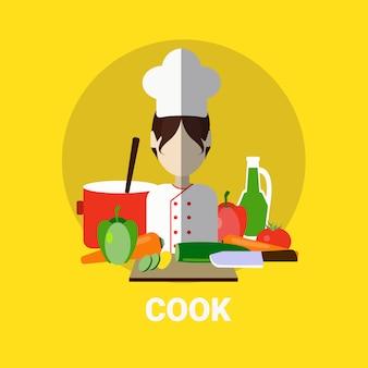 Kobieta kucharz gotowanie posiłku profil awatar ikona