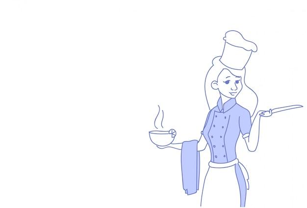 Kobieta kucharz trzyma parującą miskę zupy kobieta naczelny restauracja jednolity szkic doodle poziome portret