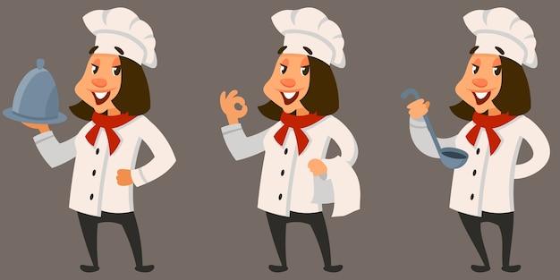 Kobieta kucharz w różnych pozach. uśmiechnięta postać w stylu cartoon.
