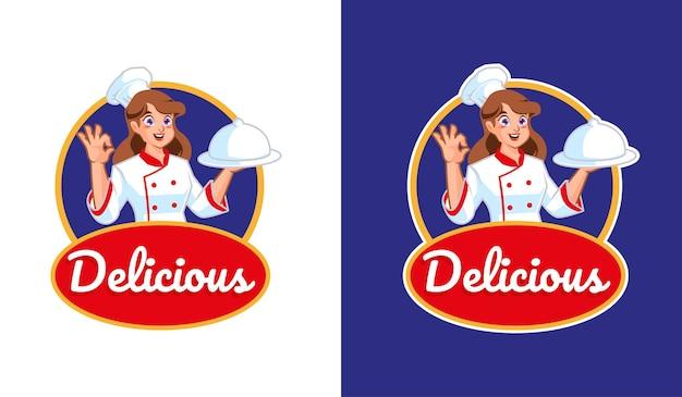 Kobieta kucharz z logo maskotki pyszne jedzenie