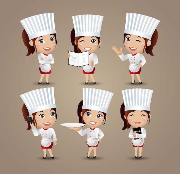Kobieta kucharz z różnymi pozami