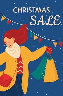 Kobieta kupujący cieszący się świątecznymi wyprzedażami i rabatami w sklepach plakat wektorowy