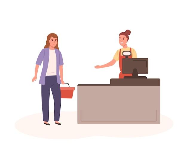 Kobieta kupujący z koszem i sprzedawcą w kasie płaskiej ilustracji wektorowych. kreskówka uśmiechnięta kobieta sprzedawczyni i klient w kasie w supermarkecie na białym tle. postać ludzi w sklepie.