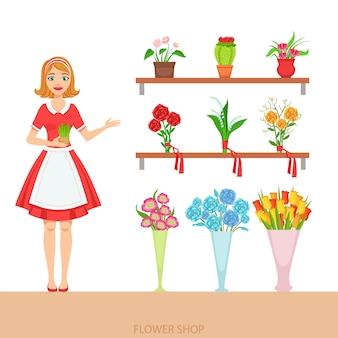 Kobieta kwiaciarnia w kwiaciarni demonstruje asortyment