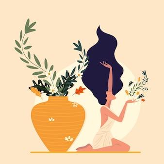Kobieta Kwiatowy Wellness Premium Wektorów