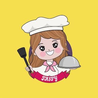 Kobieta ładny szef kuchni gotuje postać. ręcznie rysowane ilustracji.